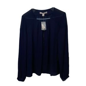 NWT Forever 21 Navy Woven Partially Sheer Blouse